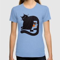 CAT HAIR Womens Fitted Tee Tri-Blue SMALL