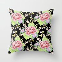 Kimono Bouquet Chintz Throw Pillow