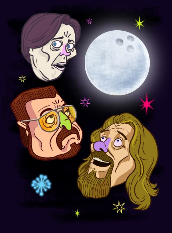 3 DUDE MOON Art Print
