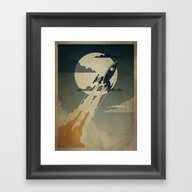 Framed Art Print featuring Night Launch by The Art Of Danny Haa…