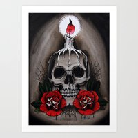Voodoo Skull And Roses W… Art Print