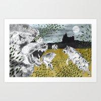 Ring of Wolves Art Print