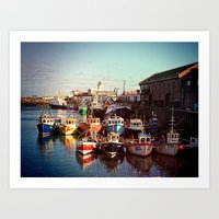 Boats resting in the Harbour Art Print