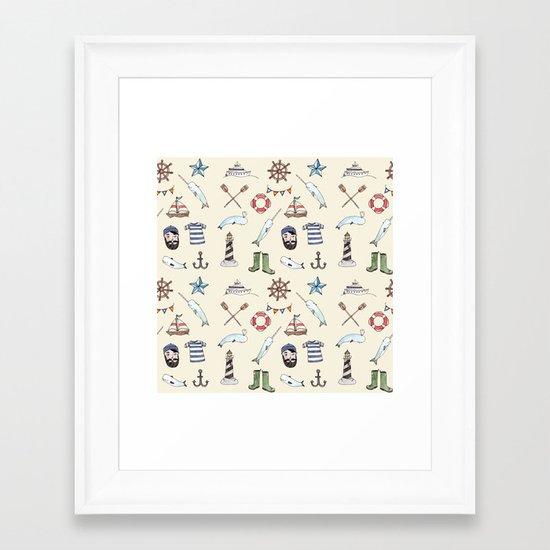 Nautical Pattern Framed Art Print