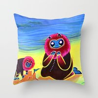 Lions and Sand Castles Throw Pillow