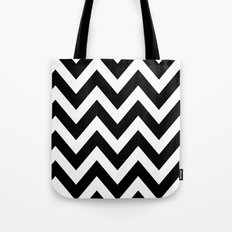 BLACK AND WHITE CHEVRON Tote Bag