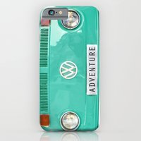 iPhone Cases featuring Adventure wolkswagen. Summer dreams. Green by Guido Montañés