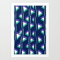 Blue & Green triangles Art Print