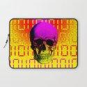 Skull circuit in a digital code. Laptop Sleeve