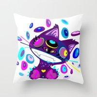 Psychocat Throw Pillow