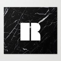 Black Marble - Alphabet R Canvas Print