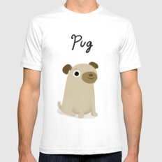 Pug - Cute Dog Series SMALL White Mens Fitted Tee