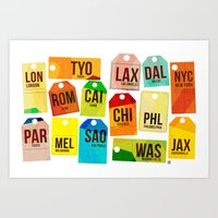 Travel Tags Art Print