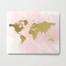 Gold World Map Poster Metal Print
