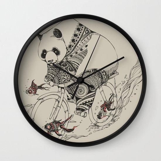 Panda and Follow Fish Wall Clock