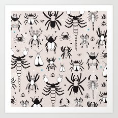Creepy grunge insect and spider illustration pattern print Art Print