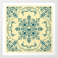 Decorative Pattern in Creme and Blue Art Print