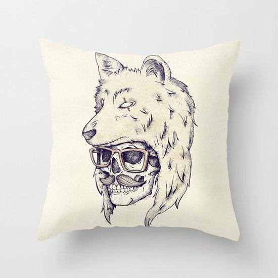 WOLF HAT Throw Pillow