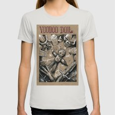 Voodoo Doll (Drawlloween… Womens Fitted Tee Silver SMALL