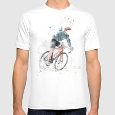 I want to ride my bicycle SMALL Mens Fitted Tee White
