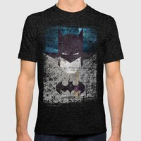 Bat Grunge Superhero Mens Fitted Tee Tri-Black SMALL