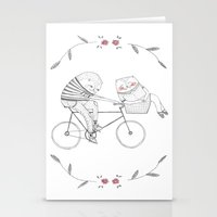 bicycle cat Stationery Cards