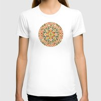 Bijoux Carousel Mandala Plaid Womens Fitted Tee White SMALL