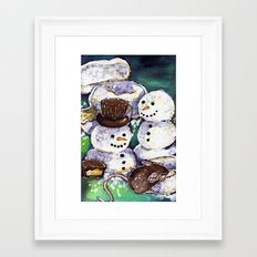 Mouse making snowman Framed Art Print