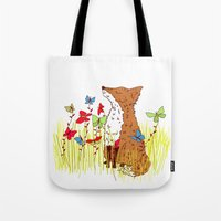 Little Fox In A Butterfl… Tote Bag
