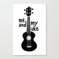 Me And My Uke - Black Canvas Print
