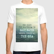 The cure for anything is salt water, sweat, tears, or the sea.    Dinesen Mens Fitted Tee White SMALL