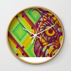 Green Owl Wall Clock
