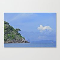 Long boat along the coast Canvas Print