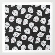 CUTE GHOST PARTY (BLACK) Art Print