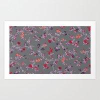 Floral Vines - Dark Grey… Art Print