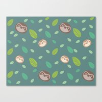 Sloth And Leaf Pattern Canvas Print