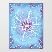 Watercolor Snowflake Canvas Print