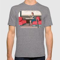Sipping Green Tea At The… Mens Fitted Tee Tri-Grey SMALL