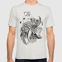 Inking Fox And Bird Mens Fitted Tee Silver SMALL