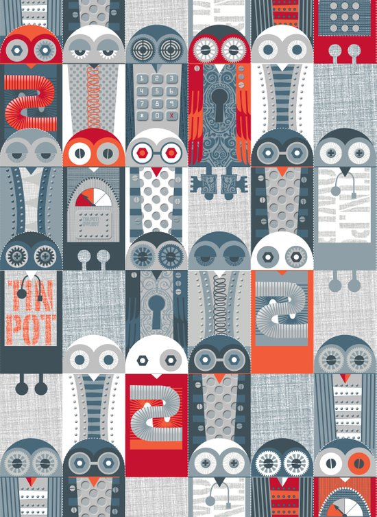 Tin Pot Owl-Bot Parliament  Art Print