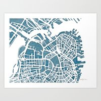 Boston Blueprint Art Print
