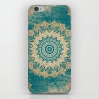 GOLD BOHOCHIC MANDALA IN GREENS iPhone & iPod Skin