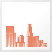 downtown Los Angeles skyline print, coral Art Print
