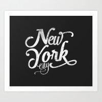 New York City vintage typography Art Print