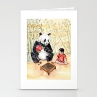 Playing Go With Panda Stationery Cards