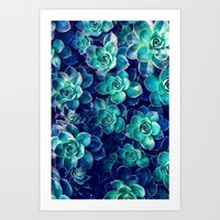 Plants Of Blue And Green Art Print