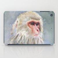 Snow Monkey Watercolor Cute Animal Portrait iPad Case