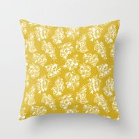 Mustard Floral Throw Pillow