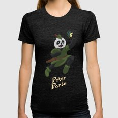 Peter Panda Womens Fitted Tee Tri-Black SMALL