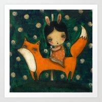 Riding My Fox Art Print